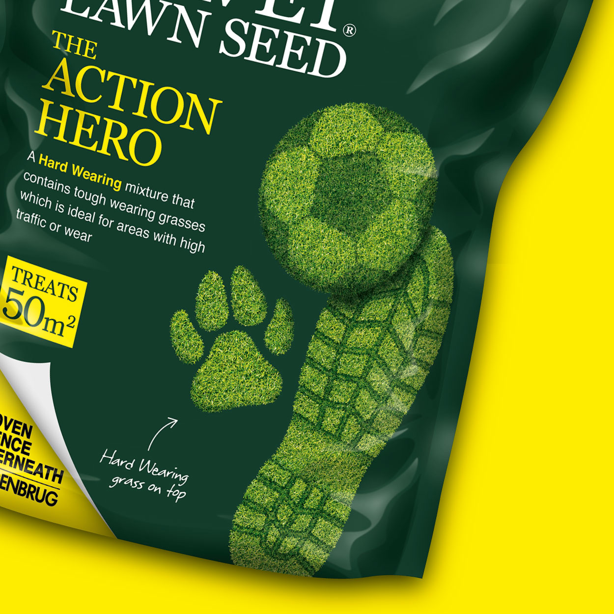 Green Velvet Lawn Seed Action Hero pouch detail