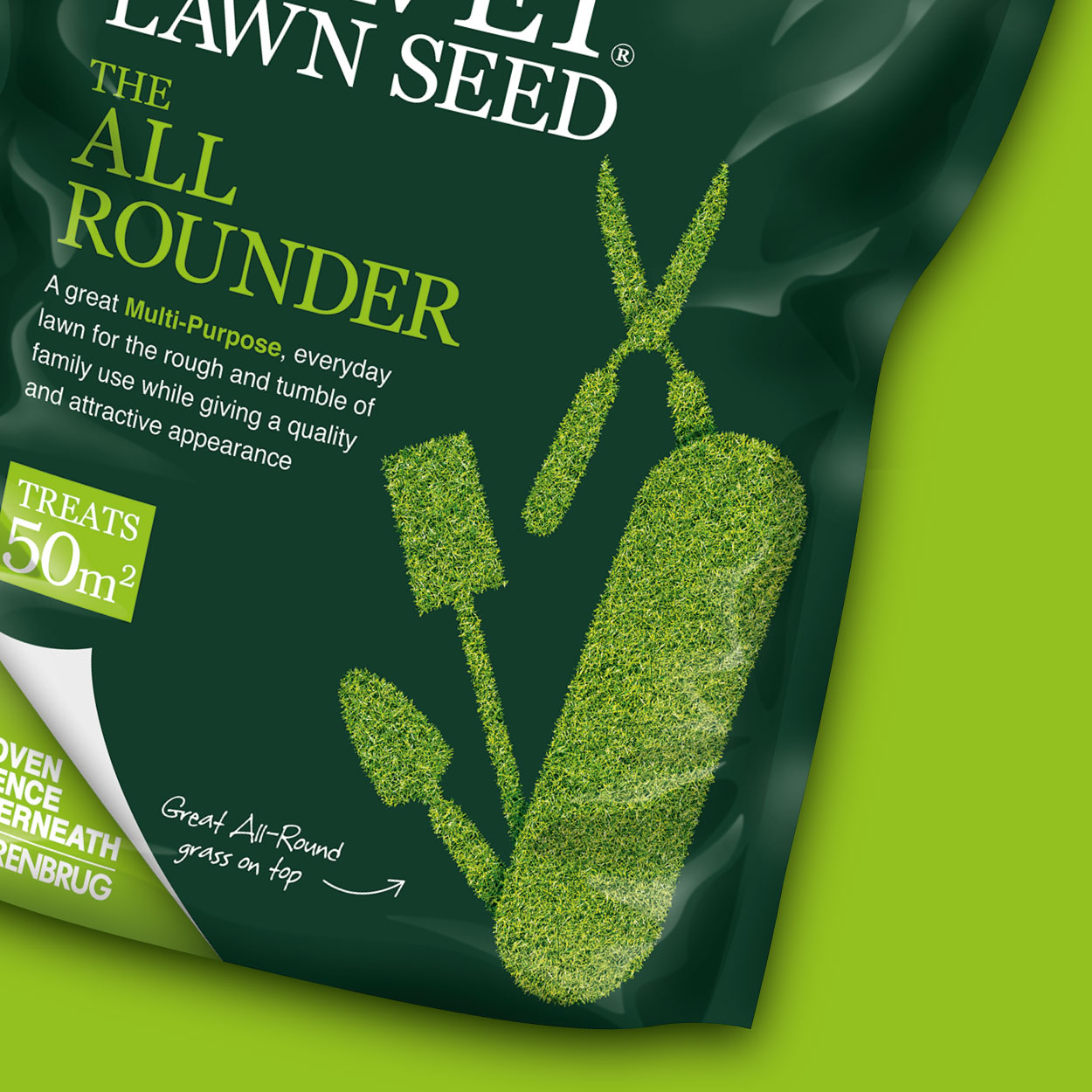 Green Velvet Lawn Seed All Rounder pouch detail