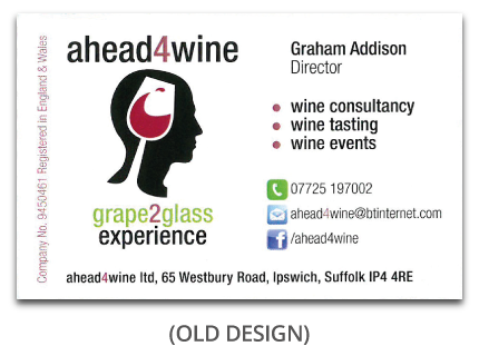 Old ahead4wine business card